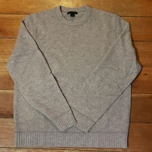 Light Gray Tweed Crew Neck Lambs Wool Sweater